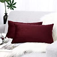 Lewondr Velvet Throw Pillow Case, 2 Pack Soft Solid Color Modern Square Pillow Case Throw Cushion Covers