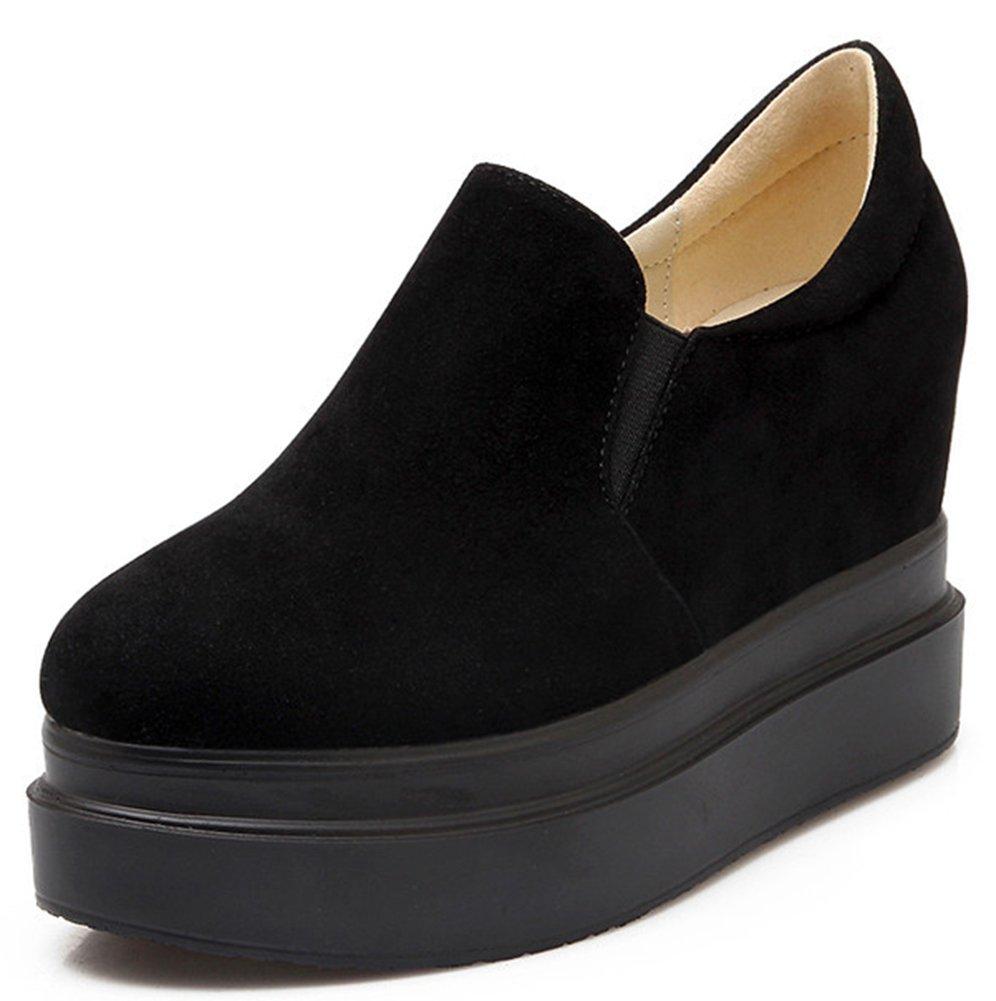 IDIFU Women's Casual Low Top Wedge Platform Shoes Slip On Sneakers Heels Inside Black 8.5 B(M) US
