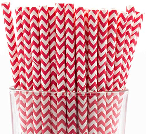 Pack of 150 Biodegradable Red Chevron Paper Drinking Straws (Compostable, Non-Toxic, BPA-Free)]()