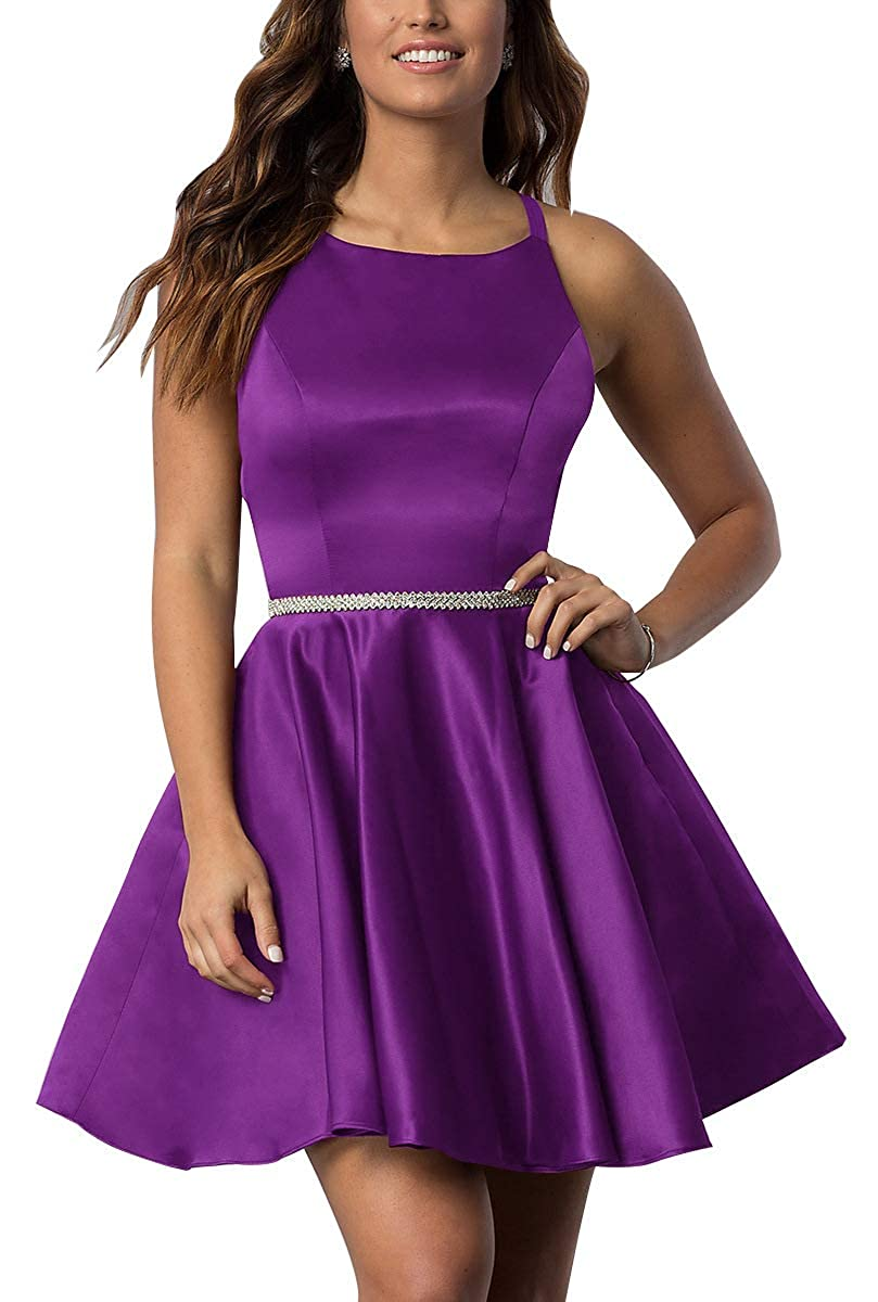 Purple Scoop Neck Short Prom Gown 2019 Satin Aline Beaded Homecoming Dresses