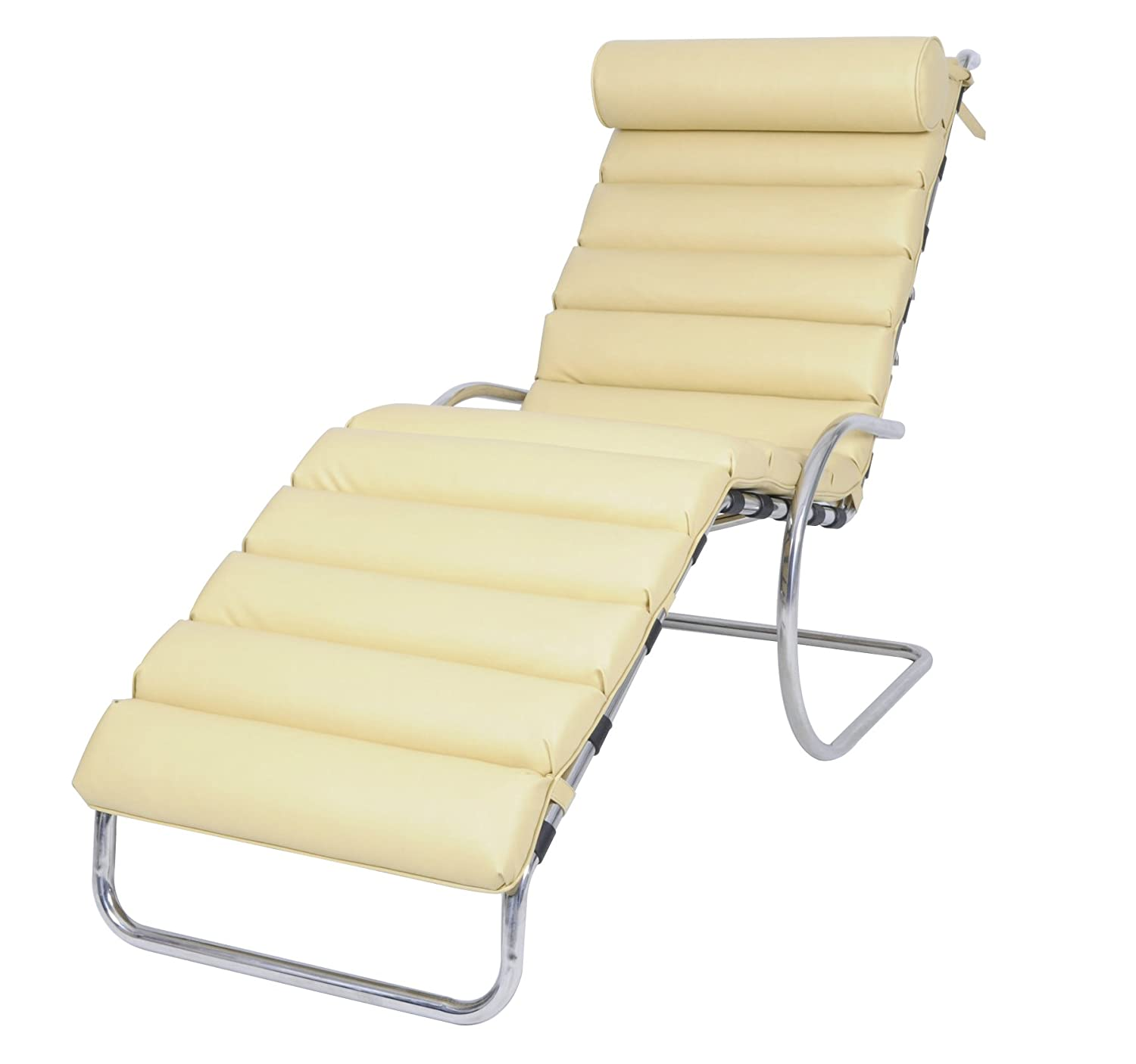 MLF MR Adjustable Zero Gravity Cantilever Chaise Lounge Beige Italian leather