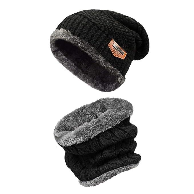 heekpek Men Women Warm Winter Knitted Hat Scarf Set,Thick Beanie,Skiing Hat,Outdoor Sports Hat Sets Winter Accessories