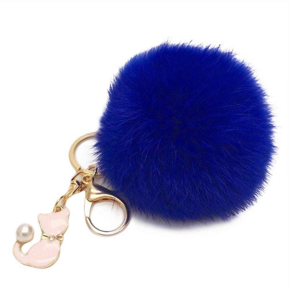 79296ed76c94 SUPPION Cat Pear Rabbit Fur Ball Fox Keychain Bag Plush Car Key Ring Car  Key Pendant (Blue) at Amazon Women s Clothing store