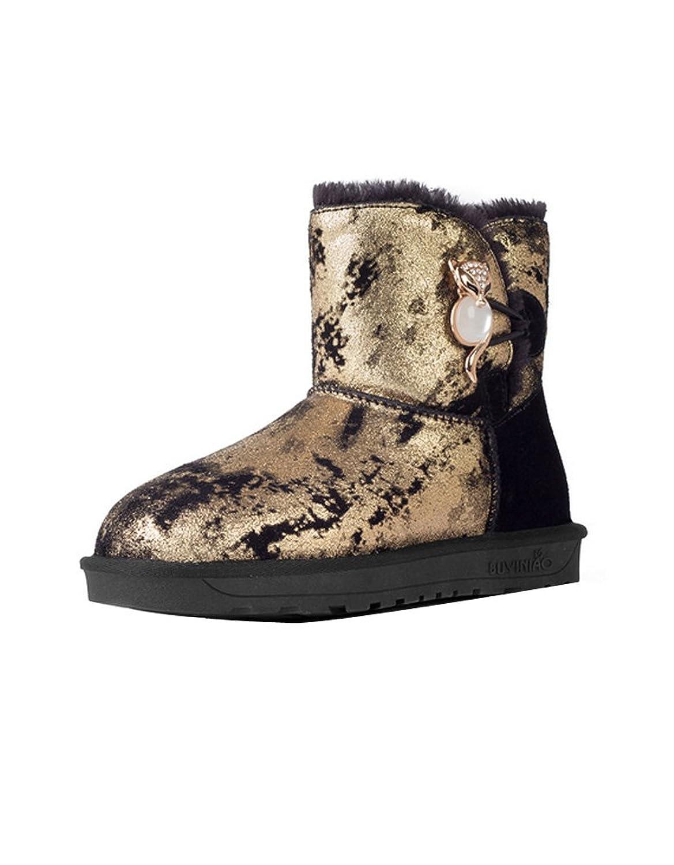 Ashlen ladies Chic Metal Fox Decor Short Leather Rubber Snow Boot Winter shoes