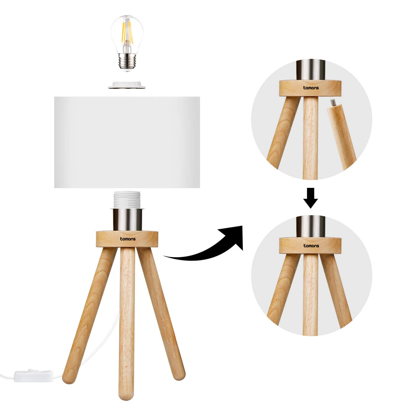 Tomons Wood Tripod Bedside Lamp, Simple Design with Soft Light for Bedroom Decorated in Warm and Cozy Ambience, Polyester White Fabric Lampshade, Packaged with 4W LED Bulb, Warm White Light, 39cm High by Tomons (Image #6)