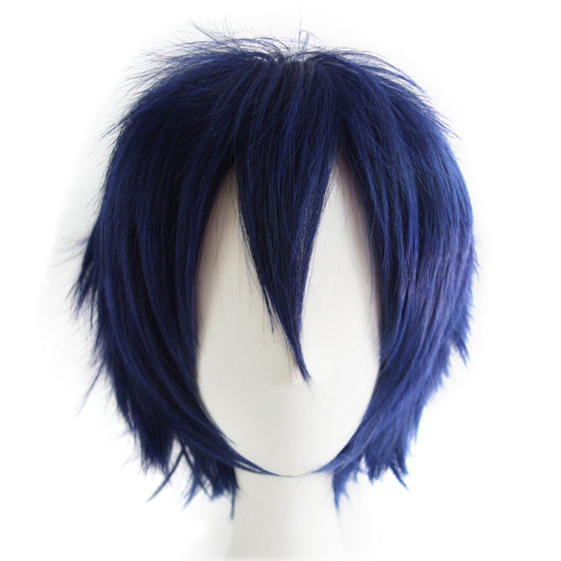Alacos Fashion Dark Blue Short Straight Layered Unisex Cosplay Wig Anime Wig Layered Hair + Wig Cap