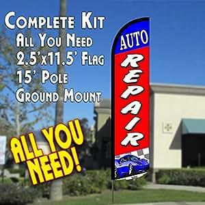 Auto Reparación Pluma de viento Banner bandera Kit (bandera, poste, y tierra MT)
