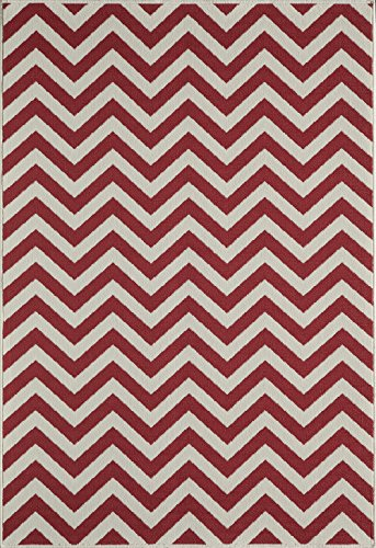 "Momeni Rugs Baja Collection Contemporary Indoor & Outdoor Area Rug, Easy to Clean, UV protected & Fade Resistant, 7'10"" x 10'10"", Red from Momeni Rugs"