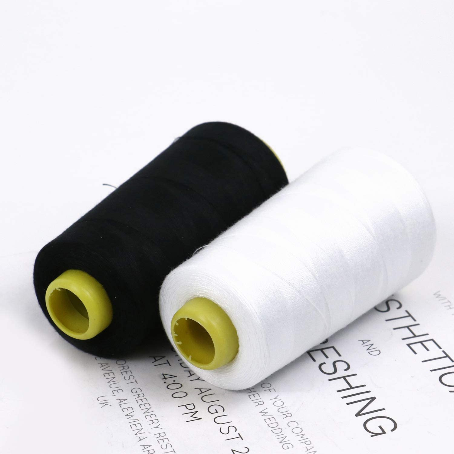 WEFOO Black and White Color 100/% Spun Polyester Overlock Cone 2 Cones 3000 Yards Each Suitable for a Variety of Sewing Machines and Handmade Products