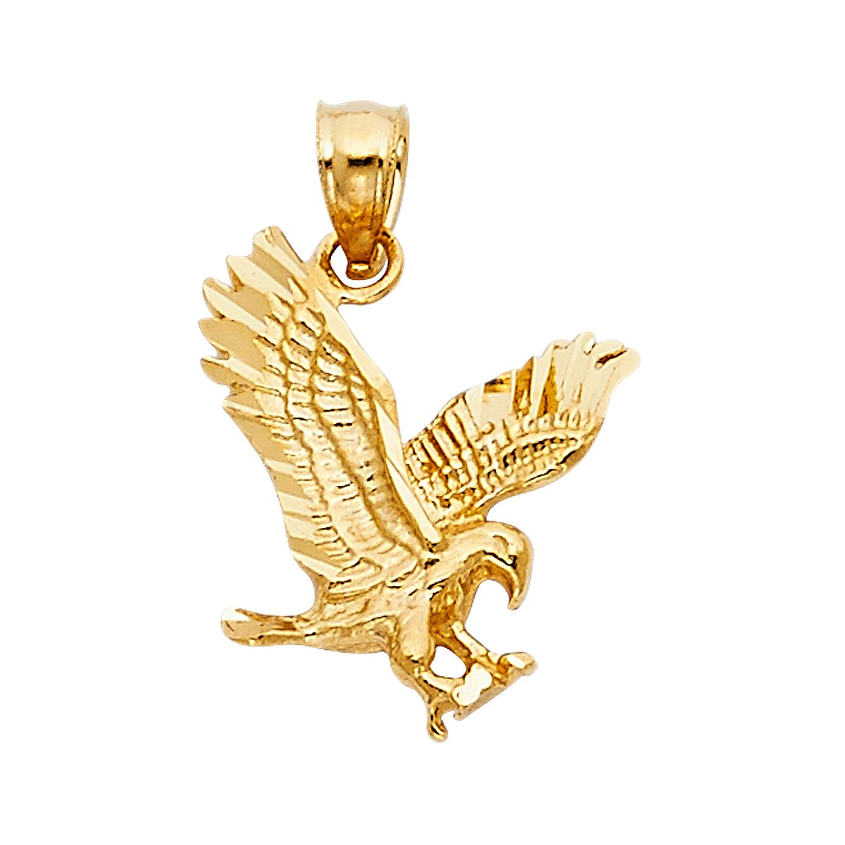 14K Yellow Gold Eagle Pendant - Height 17 MM Width 14 MM