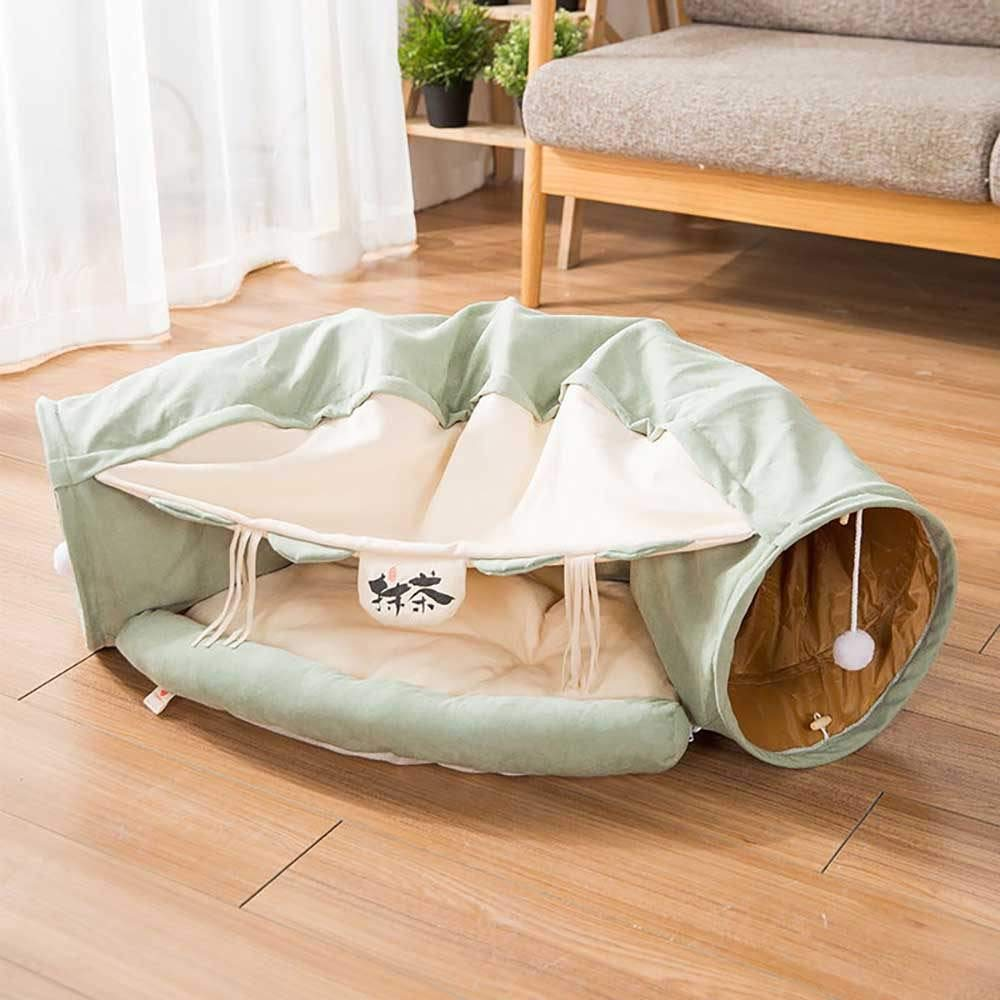 Cat Tunnel Bed, Cat Dog Tube Bed with Ball, Multi Cat Tunnel Boredom Relief Toys, Cat Cube, Cat House/Cat Condo, Kittens and Dogs for Hiding Hunting and Resting,Green by Hi-Hins