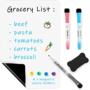 Magnetic Dry Erase White-Board Whiteboard for Fridge – 12 x 8 Inches Small Magnet White Board for Kitchen Refrigerator Reminder Sticker, Planner, Grocery List.