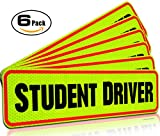 Automotive : Student Driver Bumper Magnet for New Drivers, Novice or Beginner. Reusable unlike a decal or bumper sticker. Reflective Magnetic Large Bold Visible Text (Student Driver 6 Pack)