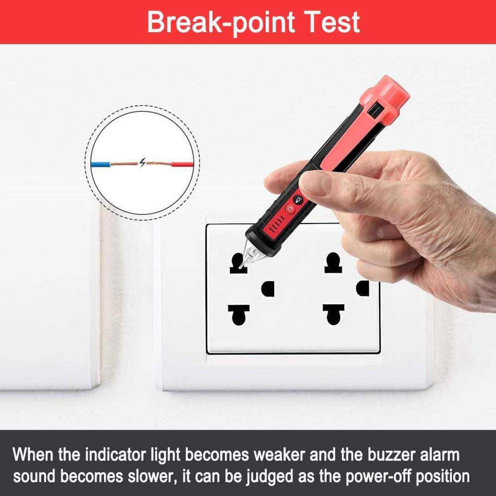 Black Non Contact Voltage Tester,Hdiwousp High-Precision Smart Electroscope with Adjustable Sensitivity AC Voltage Detector Pen 12V-1000V LED Flashlight//Buzzer//Display Screen//Pocket Clip