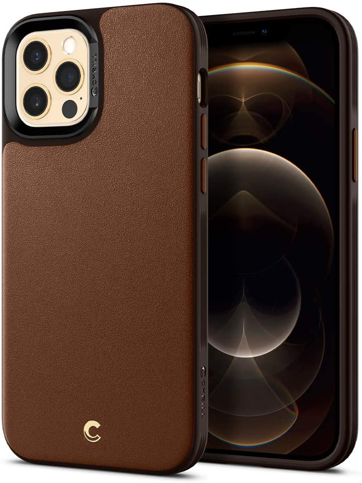 CYRILL Leather Brick Designed for iPhone 12 Case (2020), iPhone 12 Pro Case (2020) - Saddle Brown