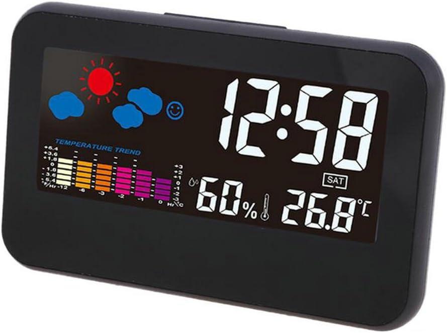 GuDoQi Relojes Despertador Digital Relojes De Escritorio Luz De Fondo Despertadores De Viaje Control De Voz Con Temperatura Humedad Calendario Función De Dormitar Para Hogar Viaje Y Oficina
