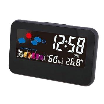 GuDoQi Relojes Despertador Digital Relojes De Escritorio Luz De Fondo Despertadores De Viaje Control De Voz Con Temperatura Humedad Calendario Función De ...