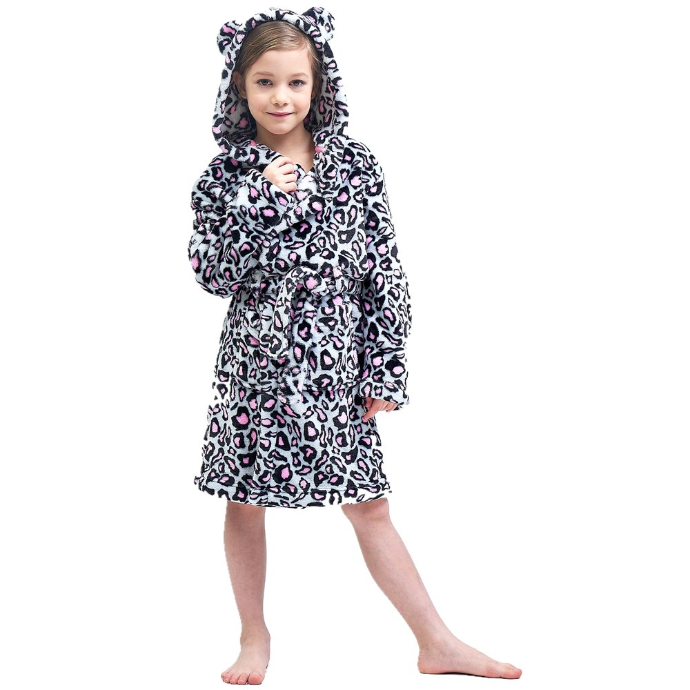 Boys & Girls Bathrobes, Plush Soft Coral Fleece Floral Hooded Sleepwear for Kids Size 8