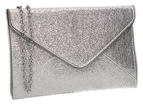 Womens Bag Party Clutch Silver Envelope Line Slim Lola Glitter Swankyswans 8qHXvW