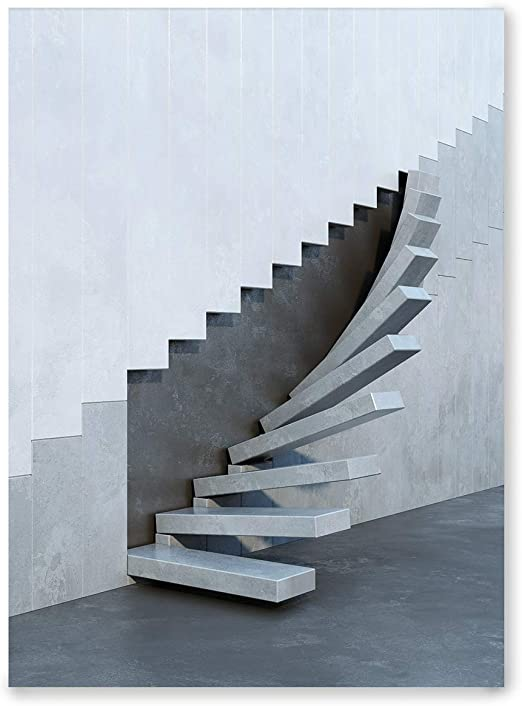 Laminas Decorativas | Modelo Arquitectura | Escaleras escultóricas | Marco Color Negro | Passepartout Blanco | Decoración Hogar | Laminas Decorativas para Enmarcar | Laminas para Cuadros | 30x40cm: Amazon.es: Hogar