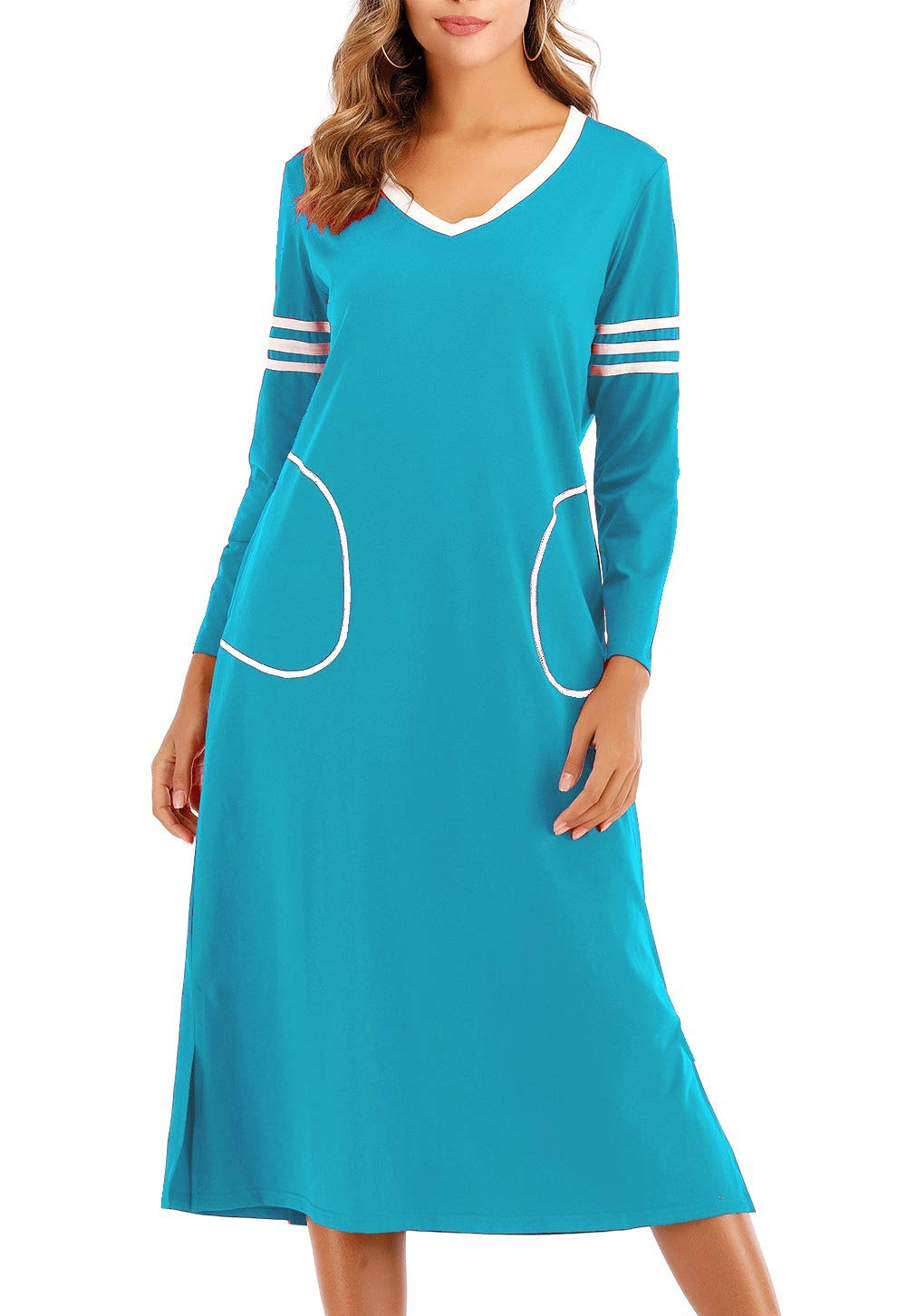 AOVXO Long Nightgown Womens V Neck Long Sleeve Nightshirt Ultra-Soft Cotton Fabric Split Hem Design with 2 Side Deep Pockets (Lake Blue, S)