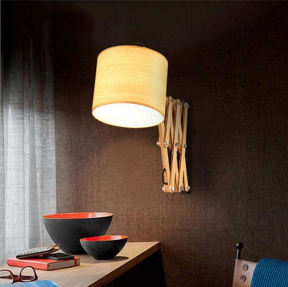 ウォールランプモダンLEDウォールライト伸縮式ウォールライト木製ランプボディー220v E27寝室、リビングルーム、バーカウンター、装飾的な壁ランプ商業ウォールランプ (色 : B) B07DMKZJ3S 14370 B B