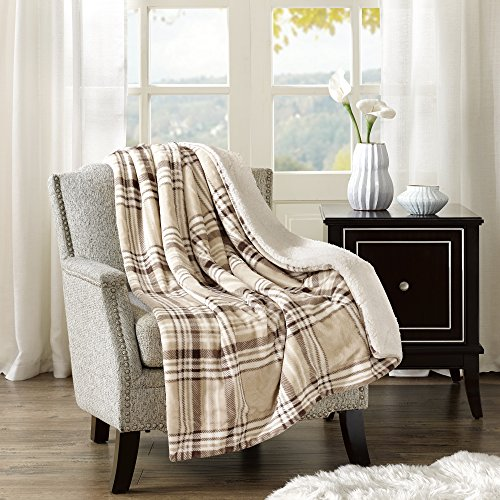 Blanket Cranberry - Comfort Spaces Sherpa/Plush Throw Blanket for Couch - 50x60 inches Lightweight Cozy Sofa Bed/Couch Throw for Beds Office Lap - Plaid - Tan, Brown, Cream