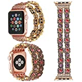 ZXK CO 42mm Band for Apple Watch Series 1 Series 2 Series 3, Fashion Vintage Handmade Gemstone Watch Strap Elastic Replacement Watch Band Bracelet Strap(Pink Gemstone,42mm)