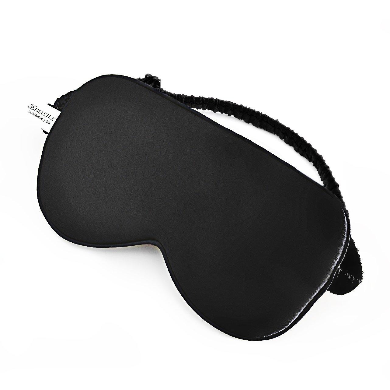ZIMASILK 100% Natural Silk Sleep Mask ,Silk Cover Elastic Headband Adjustable,Super-Smooth Soft Eye Mask for Sleep (Black I)