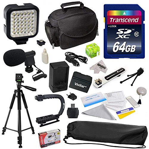 Advanced Accessory Kit for Canon VIXIA HF R52 HFR52, HF R50 HFR50, HF R500 HFR500, HF R32 HFR32, HF R30 HFR30, HF R300 HFR300, HF R42 HFR42, HF R40 HFR40, HF R400 HFR400, HF R36 HFR36, HF R306 HFR306, HF R38 HFR38, HF M50 HFM50, HF M52 HFM52, HF M56 HFM56, HF M500 HFM500, HF M506 HFM506 Video Camera Camcorder Includes 64GB High Speed Memory Card + Card Reader + Vivitar BP-718 BP718 Extended 2300 mAh Lithium Ion Battery + Battery Charger + Deluxe Padded Carrying Case + Professional Photo / Video from 47th Street Photo