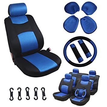 Pleasant Scitoo Universal Blue Black Car Seat Cover W Headrest Steering Wheel Shoulder Pads 11Pcs Breathable Mesh Cloth Retractable Pdpeps Interior Chair Design Pdpepsorg