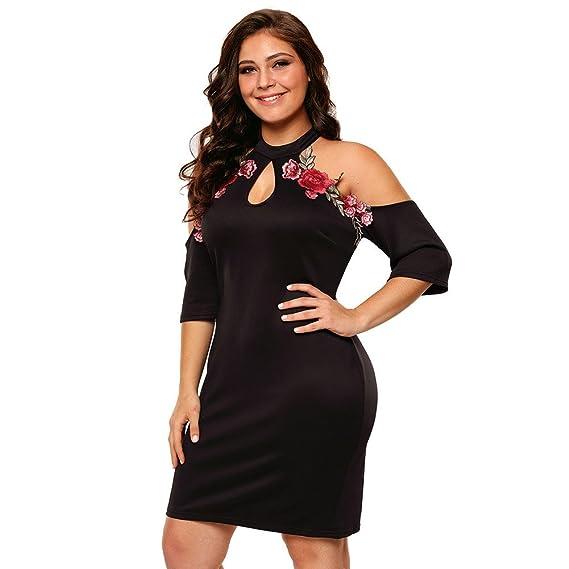 Vestidos Tallas Grandes Plus Ropa De Moda Para Mujer Sexys Casuales Largos De Fiesta y Noche Elegantes Negro (XL) VE0060 at Amazon Womens Clothing store: