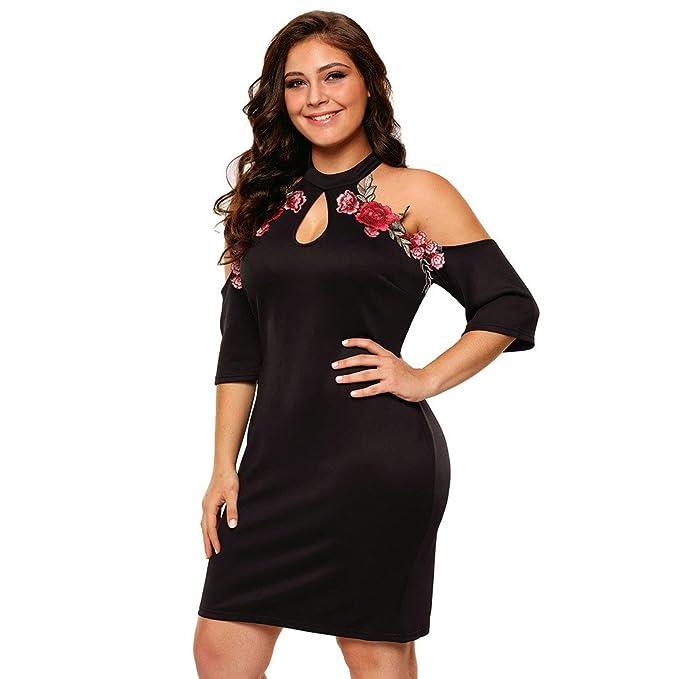 Vestidos Tallas Grandes Plus Ropa De Moda Para Mujer Sexys Casuales Largos De Fiesta y Noche Elegantes Negro (XXL) VE0060 at Amazon Womens Clothing store: