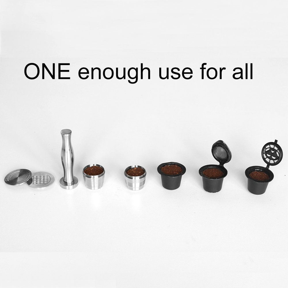 MG Coffee Food-Grade Stainless Steel Reusable Nespresso Capsule Permanent Coffee Pod Holder for Nespresso Original Line Machines with gifts (Tamper)