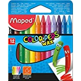 Maped 861011 Color'Peps Wax Crayons, Pack of 12, Assorted Colours