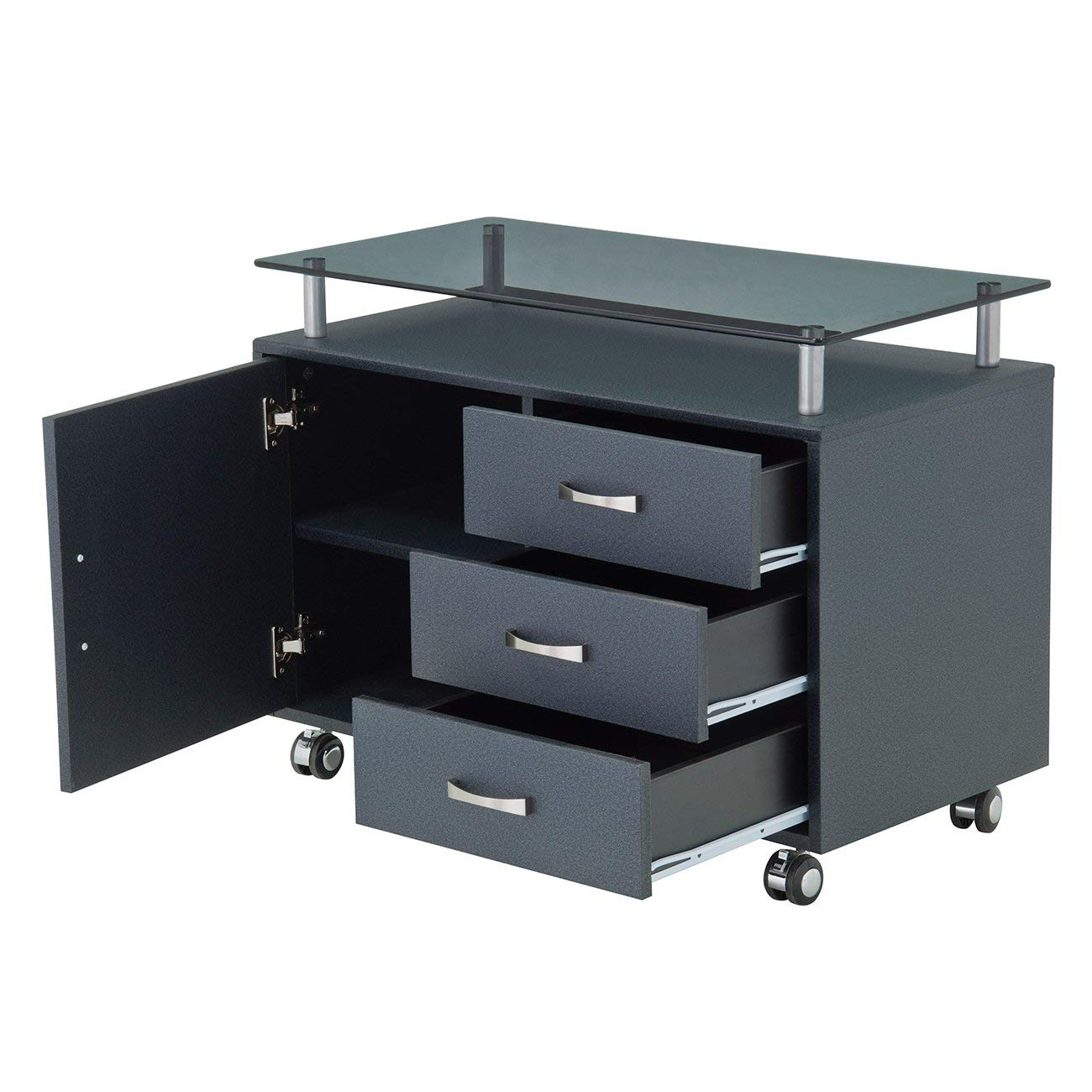 Rolling Storage Cabinet With Frosted Glass Top. Color: Graphite by Techni Mobili (Image #6)