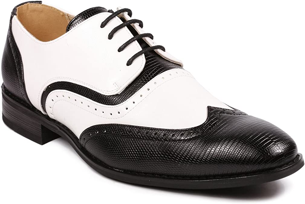 Metrocharm MC 113 Men's Wing Top Perforated Lace Up Oxford Dress Shoes