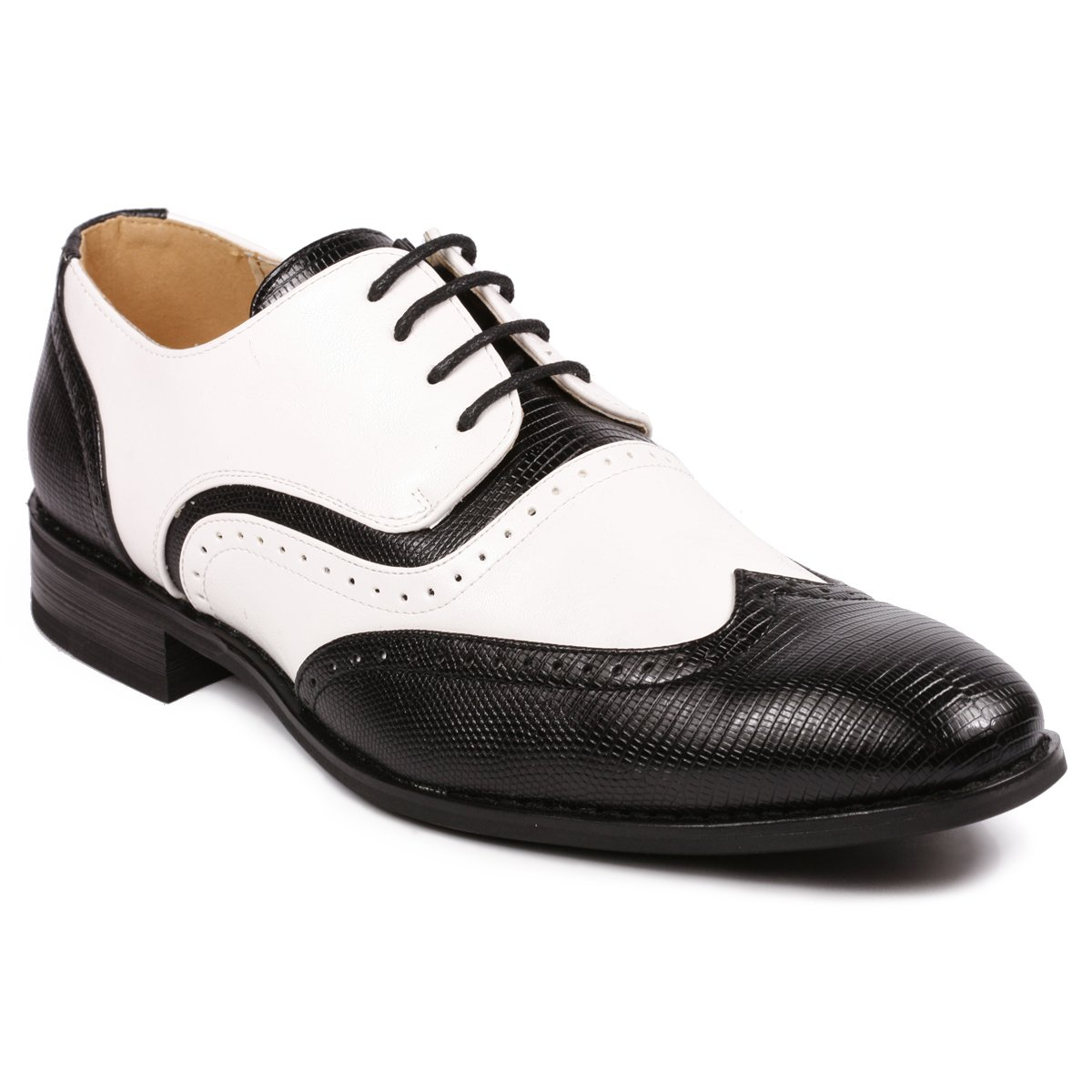 1950s Mens Shoes: Saddle Shoes, Boots, Greaser, Rockabilly Metrocharm MC113 Mens Wing Tip Perforated Lace Up Oxford Dress Shoes $39.99 AT vintagedancer.com
