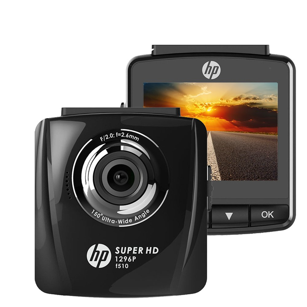 HP Dash Cam for Cars FHD 1296P 2.4'' Dashboard Car Camera DVD Recorder with Super Night Vision,Motion Detection,G-Sensor, Parking Mode,Loop Recording,WDR by HP
