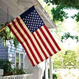 Best American Flags With Pole Sleeves - Evergreen Tea-Stained American Double-Sided Appliqué House Flag Review
