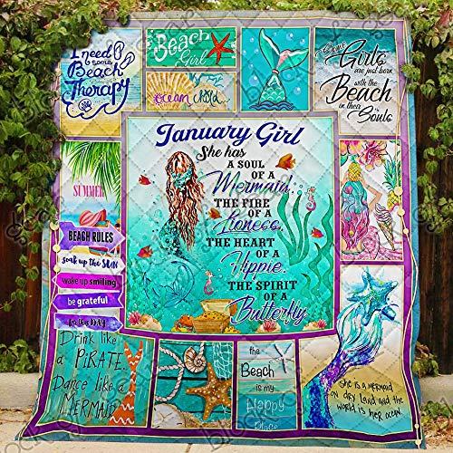 January Crafts For Kids (January Girl A Soul of A Mermaid Quilt PSL803m1, Twin All-Season Quilts Comforters with Reversible Cotton King/Queen/Twin Size - Best Decorative Quilts-Unique Quilted for)