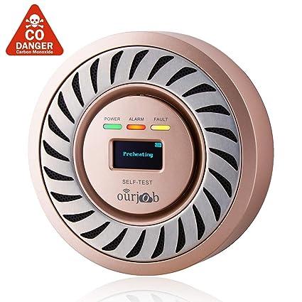 Detector de CO Alarma de monóxido de Carbono, Sensor electroquímico Batería de Litio Recargable CO Probador de Gas, USB Enchufe Monitor de CO con ...