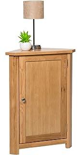 Waverly Oak Corner Storage Cabinet In Light Oak Finish | Low Cupboard With  Shelf | Solid
