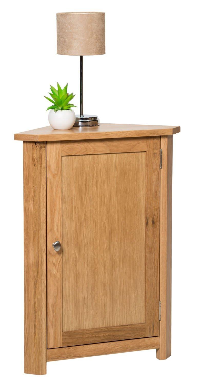 waverly oak corner storage cabinet in light oak finish low cupboard with shelf solid wooden unit amazoncouk kitchen u0026 home - Corner Storage Cabinet
