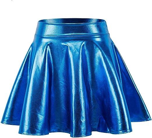ERLIZHINIAN Metal Brillante Falda de Moda de Las señoras monopatín ...