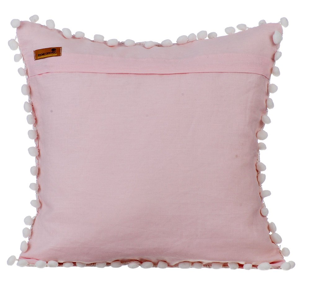 Rosa kissenbezüge, Häkeln Stoff Pom Pom Blumen-Thema kissenhüllen ...