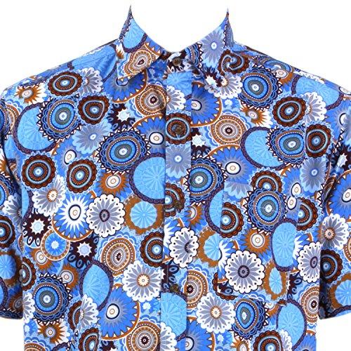 Loud Originals Regular Fit Hemd mit kurzen Ärmeln - Blau Abstrakt Kreise