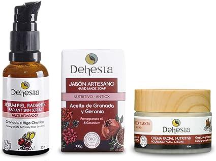 Pack CUIDADO FACIAL NATURAL: Crema Facial Nutritiva + Sérum Facial Piel Radiante Multi-Reparador + Jabón Artesano Antioxidante. Dehesia Econatural: Amazon.es: Belleza