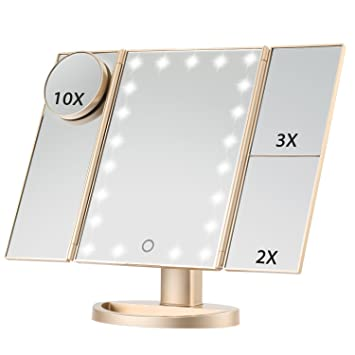 walmart lighted makeup mirror 10x conair canada wall mounted brass led magnifying