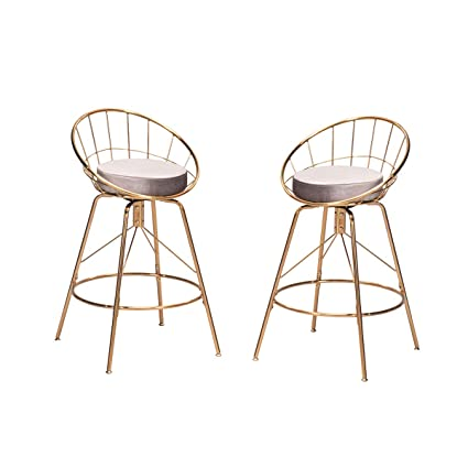 Wondrous Haobo Home Metal Bar Stools Swivel Chairs Modern Industrial Counter Height Chair Stackable For Indoor Outdoor Dining Chairs 26 Swivel 08 Gray Set Pabps2019 Chair Design Images Pabps2019Com